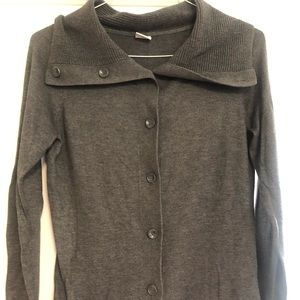 Grey Esprit cowl neck button up cardigan sweater M